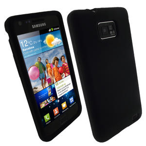 iGadgitz Black Silicone Skin Case Cover for Samsung i9100 Galaxy S2 Android Smartphone Mobile Phone + Screen Protector Preview